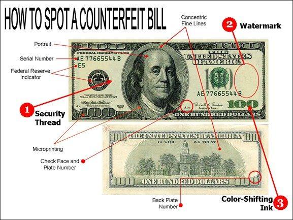چگونه اسکناس دلار تقلبی را از اصل تشخیص دهیم؟