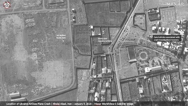 عکس ماهواره ای سقوط هواپیما