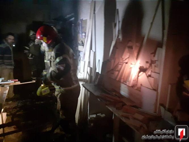 آتش سوزی کارگاه چوب بری تهران