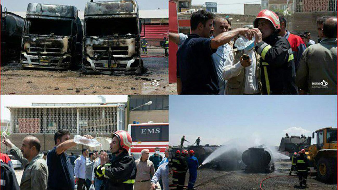 انفجار کرمانشاه آتش سوزی