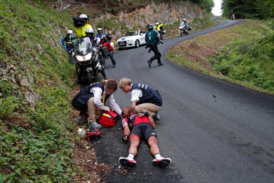 حادثه شدید در مسابقات دوچرخه سواری