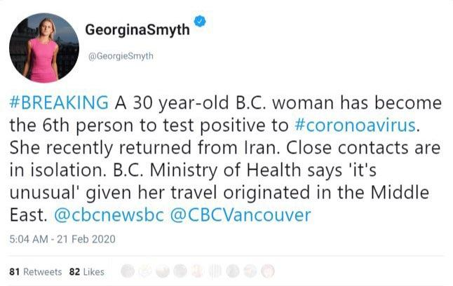 زن کرونا کانادا
