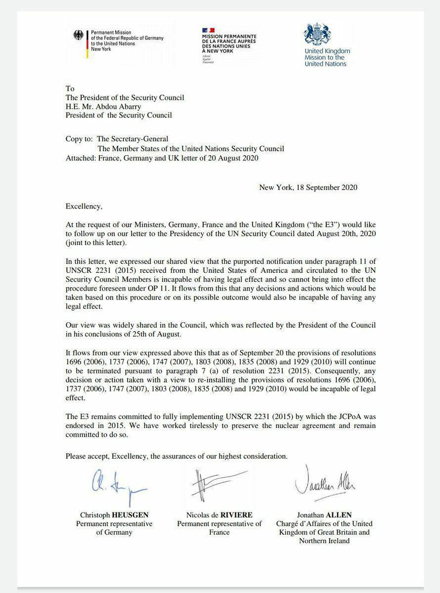 امضای نامه اروپا برای تحریم
