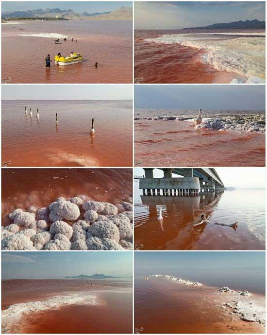 قرمز شدن دریاچه ارومیه