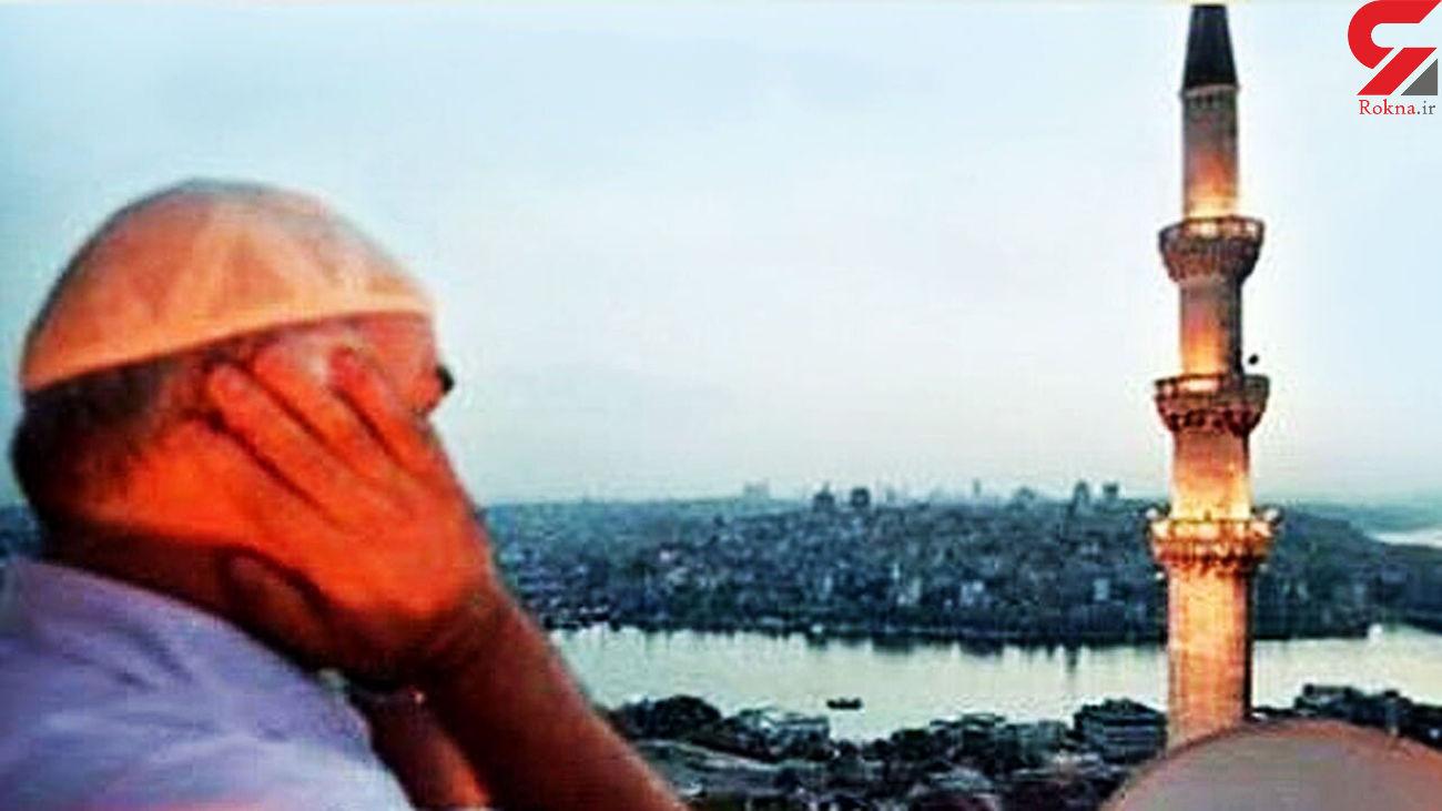 فیلم لحظه مرگ موذن در مسجد / با حمله قلبی از دنیا رفت