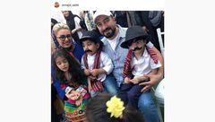 «مجید صالحی» در کنار همسر و دوقلوهای داش مشتی اش +عکس