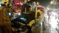 عکس های پژو سوخته در آتش سوزی محله شوش