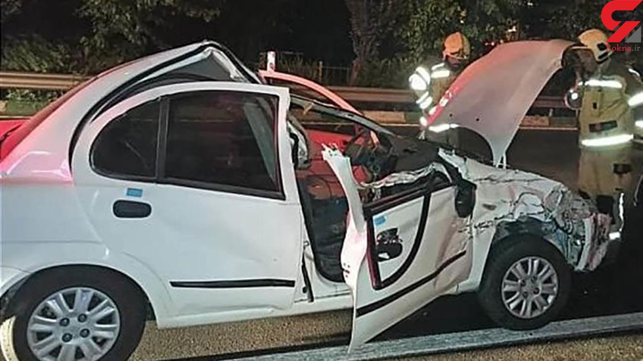 عکس های تلخ از تصادف مرگبار بامدادی در اتوبان همت / تیبا له شد