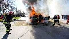 یک کشته و 2 مجروح بر اثر حریق خودروی حامل سوخت قاچاق