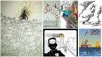 سلفی های زشت با پلاسکو، کاریکاتوریست ها را دست به قلم برد+تصاویر