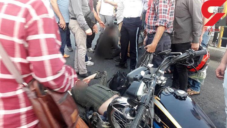 تصادف موتورسوار و عابر پیاده در خیابان دماوند تهران