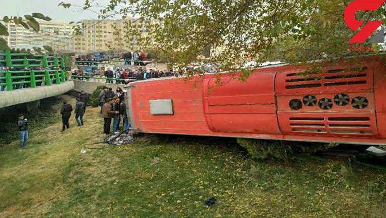 عجیب ترین عکس / سقوط اتوبوس از پل چمران اصفهان + جزییات