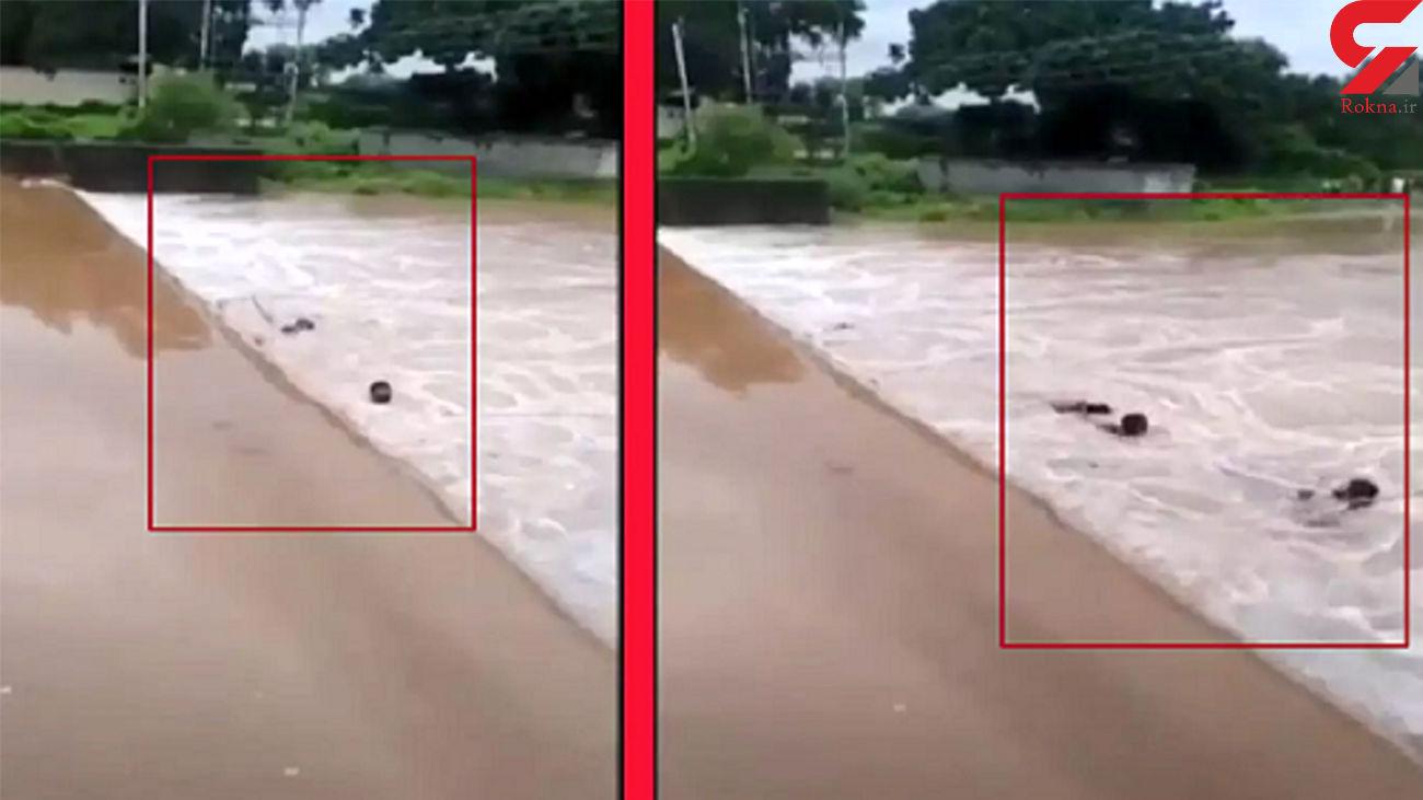 لحظه دلهره آور نجات مرد محلی در حال غرق شدن