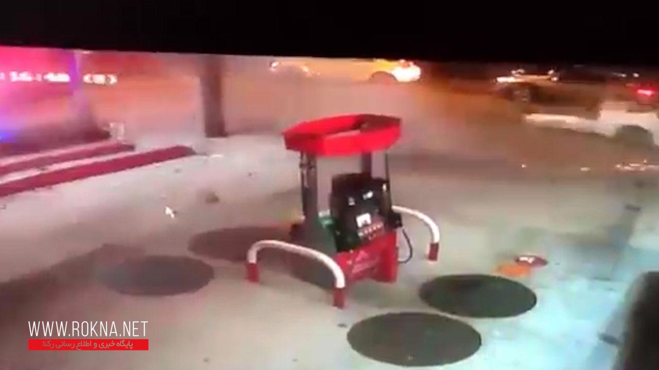 تصادف مرگبار یک خودرو در پمپ بنزین + فیلم