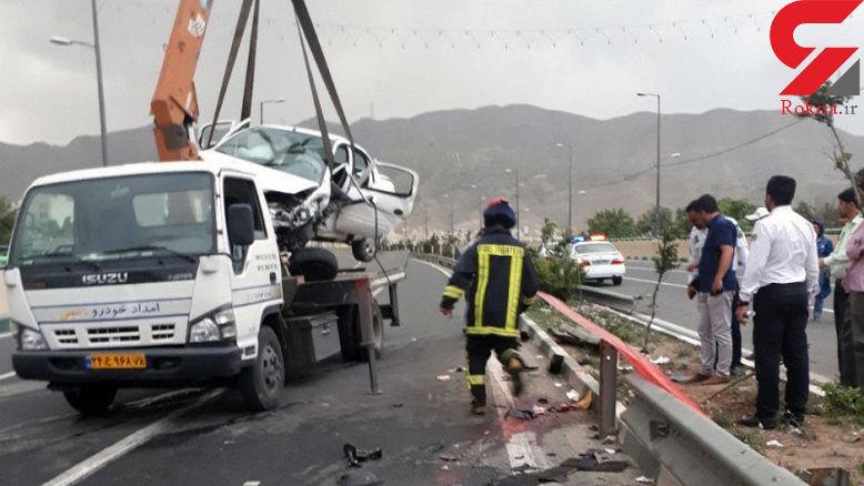 تصادف مرگبار 3 زن در آزادراه کرج - تهران +عکس