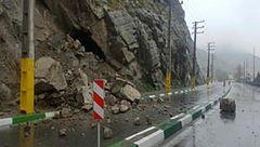 ریزش کوه در جاده کرج - چالوس