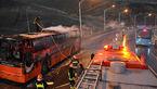 عکسی عجیب از آتش سوزی اتوبوس مسافربری در جاده قزوین + جزییات