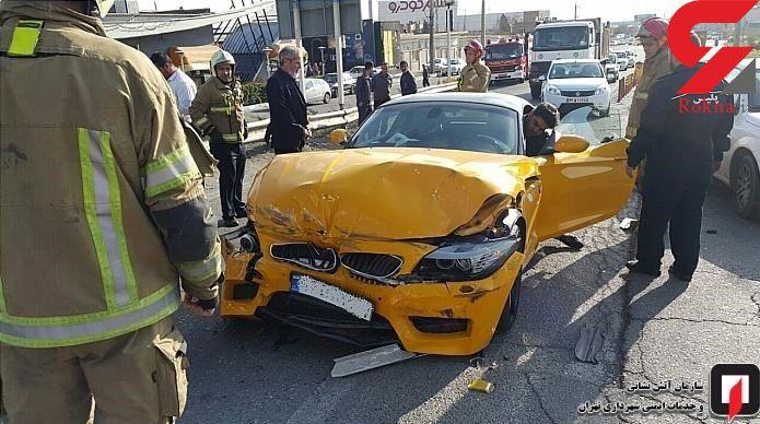 عکس های تصادف خودوری فوق لاکچری در بزرگراه شهید فهمیده