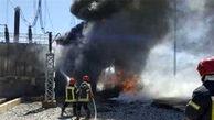 مهار آتش سوزی مخزن نفتی شرکت پتروامید در بوشهر