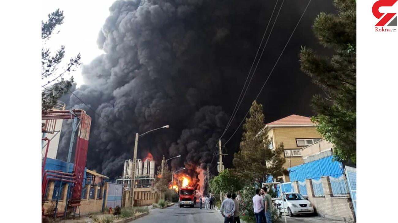 3 عکس از لحظه آتش سوزی هولناک کارخانه الکل در قم+ فیلم