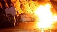 عکس های وحشتناک از سوختن تانکر گازوئیل در جاده بندرعباس