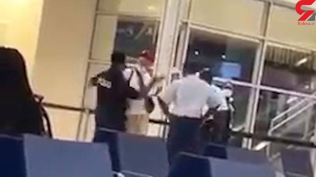سیلی محکمی که همه در فرودگاه شنیدند + فیلم
