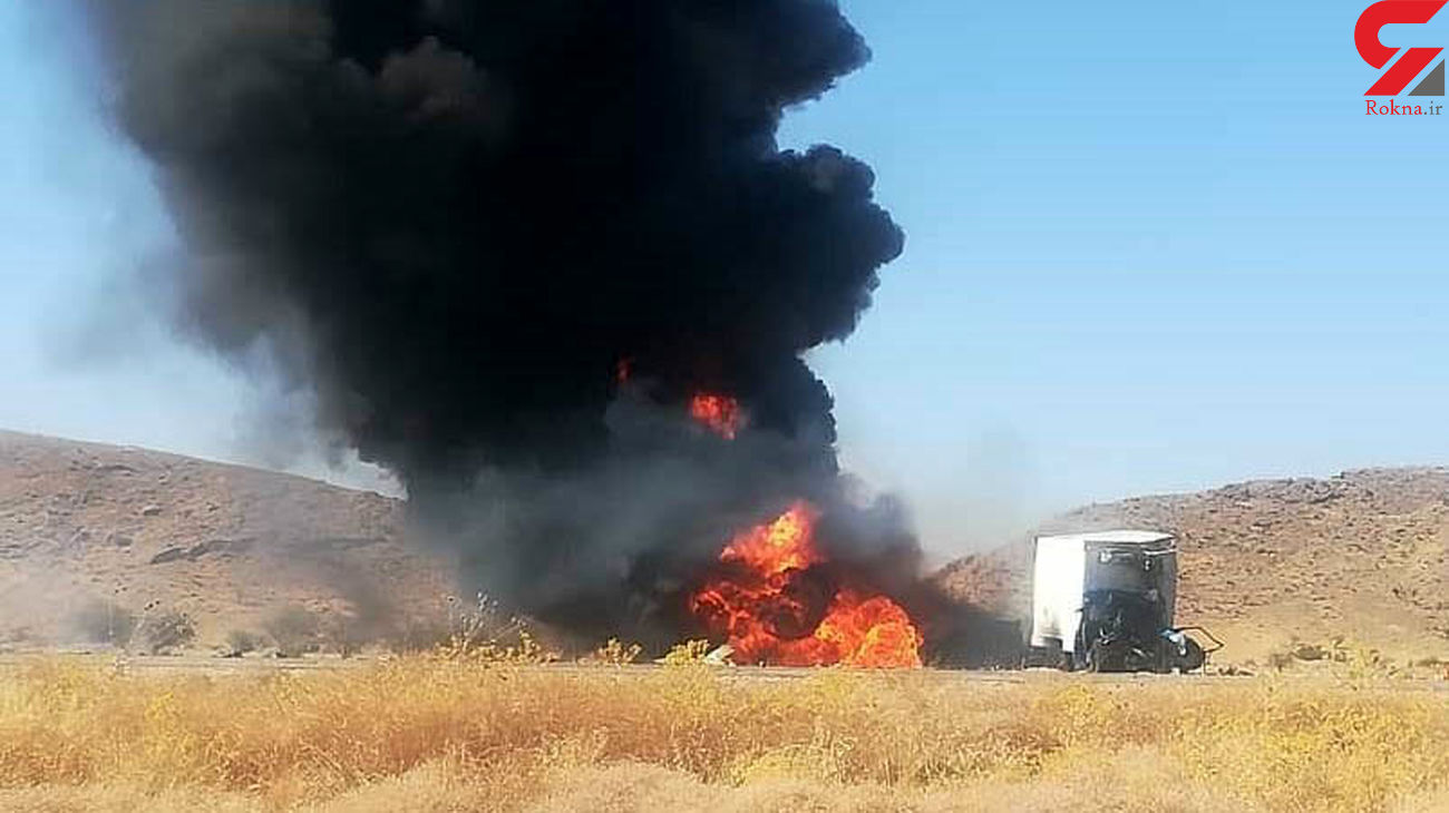 فیلم لحظه زنده زنده سوختن 2 راننده در جاده شیراز + عکس
