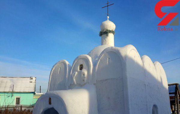 ساخت یک کلیسای برفی در روسیه