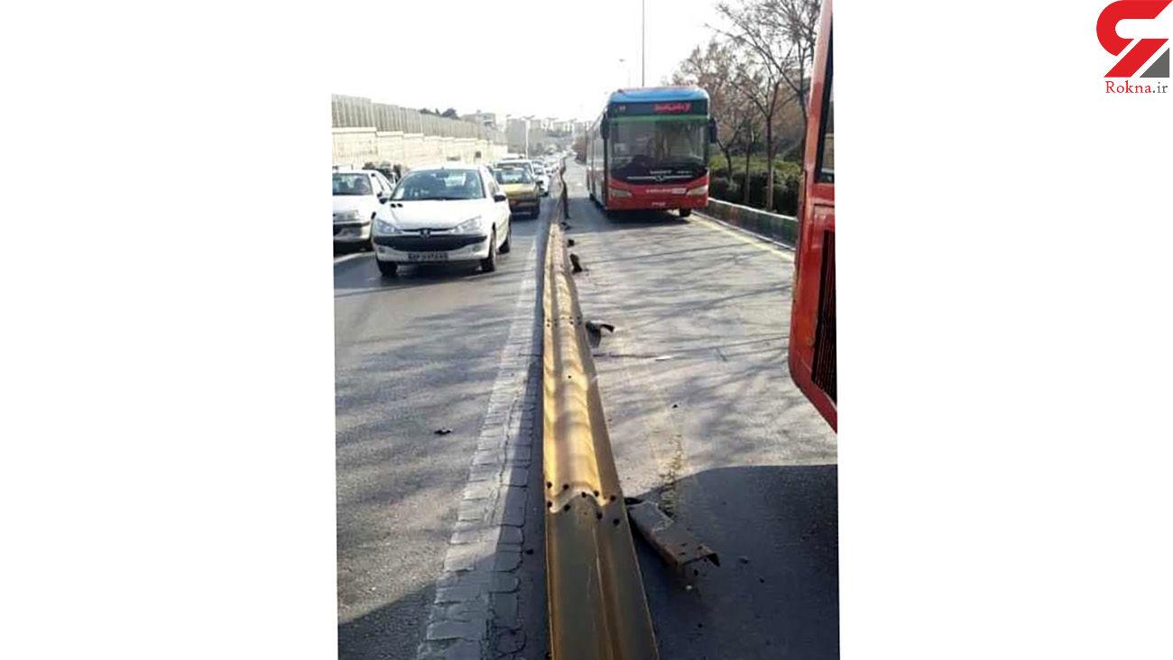 حادثه در اتوبان امام علی / پژو با گاردریل تصادف کرد + عکس