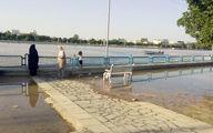وحشت سیل در خرمشهر /حمله رودخانه کارون به خرمشهر + اولین عکس