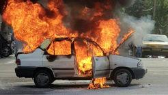راننده عصبانی وسط چهارراه جهان کودک تهران پرایدش را آتش زد + فیلم و عکس