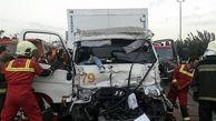 تصادف هولناک دو کامیون در بزرگراه شهید یاسینی + تصاویر