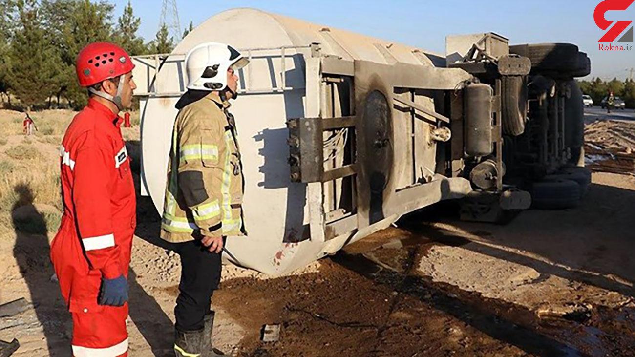 واژگونی تانکر حمل سوخت در مشهد مصدومی نداشت