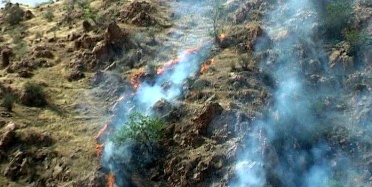 آتش، مراتع جنگلی «قاضی خان» را به خاکستر تبدیل کرد / لزوم حضور نیروهای مردمی در منطقه +تصاویر