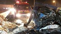 تصاویر وحشتناک از تصادف مرگبار در اتوبان قم / یک نفر در آتش سوخت / صبح امروز رخ داد