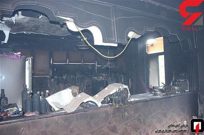 آتش سوزی مجتمع مسکونی 4 طبقه در تهران + عکس
