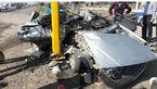 تصادف مرگبار 2 زن اردبیلی پراید سوار با تیر چراغ برق + تصاویر