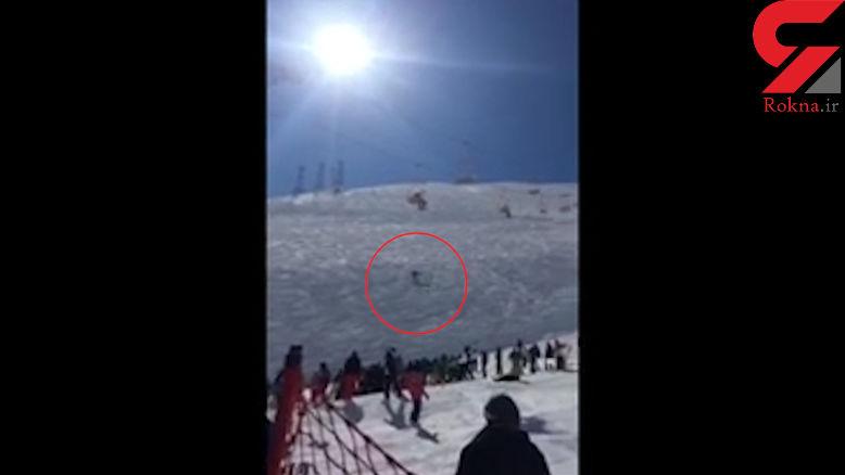 سقوط اسکی باز دختر 8 ساله در پیست اسکی دربندسر+فیلم حادثه