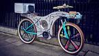 دوچرخه ای که با وسایل آشپزخانه ساخته شد  +تصاویر