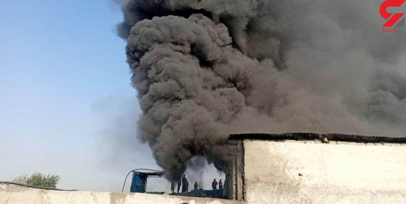 آتشسوزی انبار بازیافت مواد پلاستیکی در شهرری