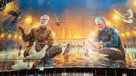تصویر سردار سلیمانی و ابومهدی روی دیوارنگاره میدان ولی عصر(عج)