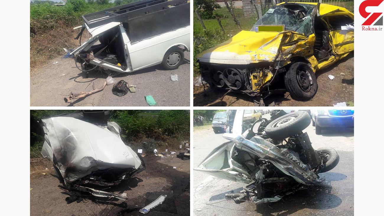 تصادف مرگبار پیکان وانت با پژو در محور فومن به ضیابر / 2 تن کشته شدند + عکس