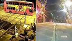 راننده اتوبوس قانون شکن از مرگ گریخت + فیلم و عکس