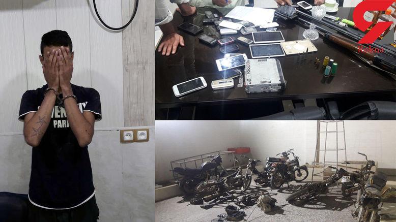 دستگیری سارق جوان در محل اوراق موتورهای سرقتی در آبادان +تصاویر