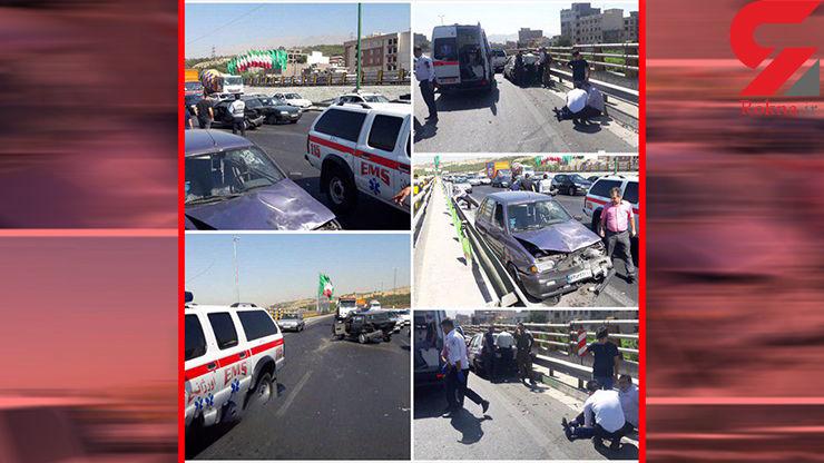 تصادف دو خودروى سوارى پراید در بزرگراه همت تهران+عکس
