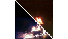 انفجار تریلر حمل سوخت در دل شهر اردکان