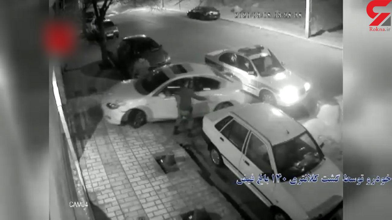 زوج تهرانی به ماشین پلیس کوبیدند تا فرار کنند! + فیلم  اتفاق عجیب در باغ فیض تهران