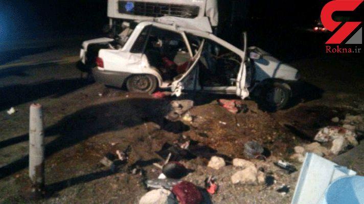 4 کشته و 2 مجروح در اثر برخورد خودروی سنگین با پراید 