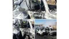 ۷ مهمان نوروز در تصادف پراید و سمند زنده زنده سوختند / در جاده خوی رخ داد + عکس 16+