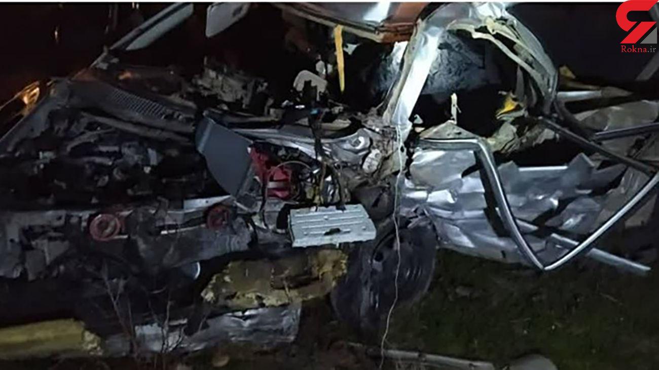 مرگ تلخ 4 زن و مرد و کودک در رامهرمز در خودروی له شده + عکس